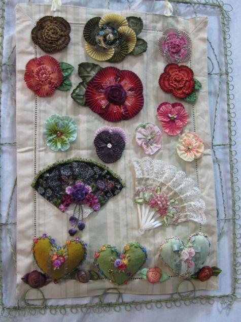 Ribbon flowers on display