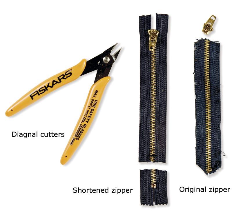 Tools for shortening a zipper