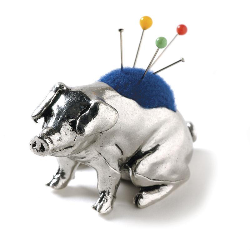 Pewter pig pincushion