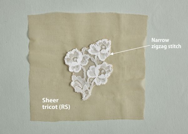 Sew lace to sheer tricot