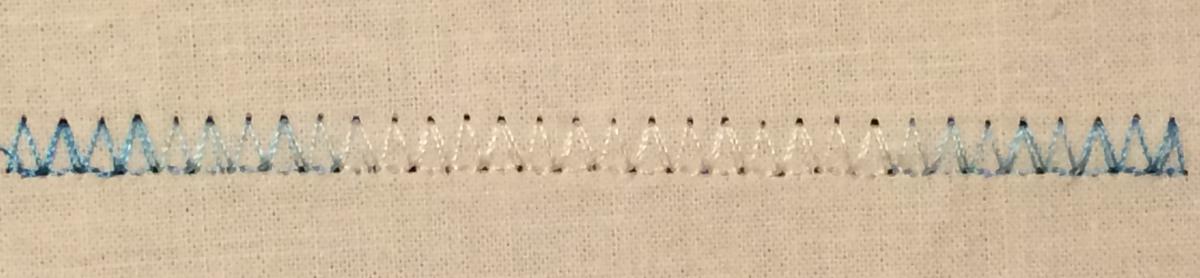 Variegated rayon decorative stitching