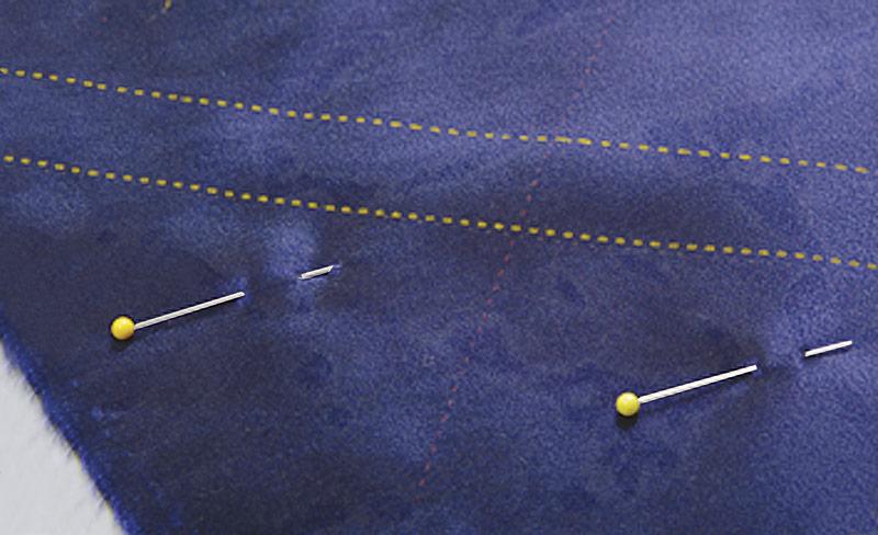 Pin the uncut fabric