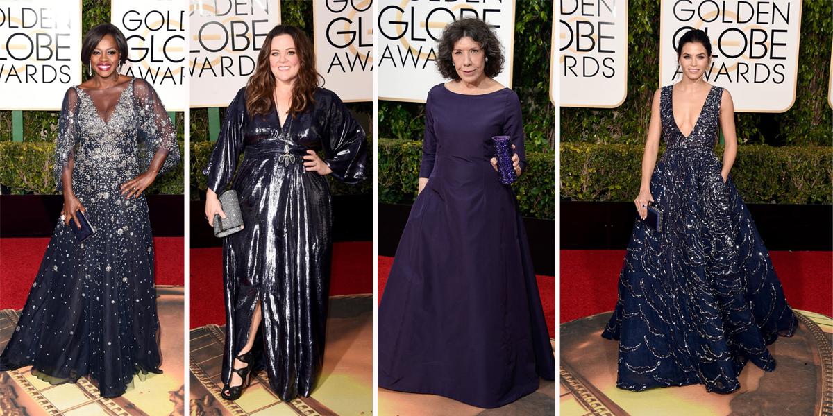 golden globes 2016 blue gowns