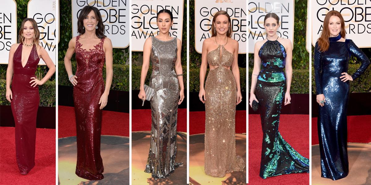 golden globes sequin sparkly metals shiny dresses