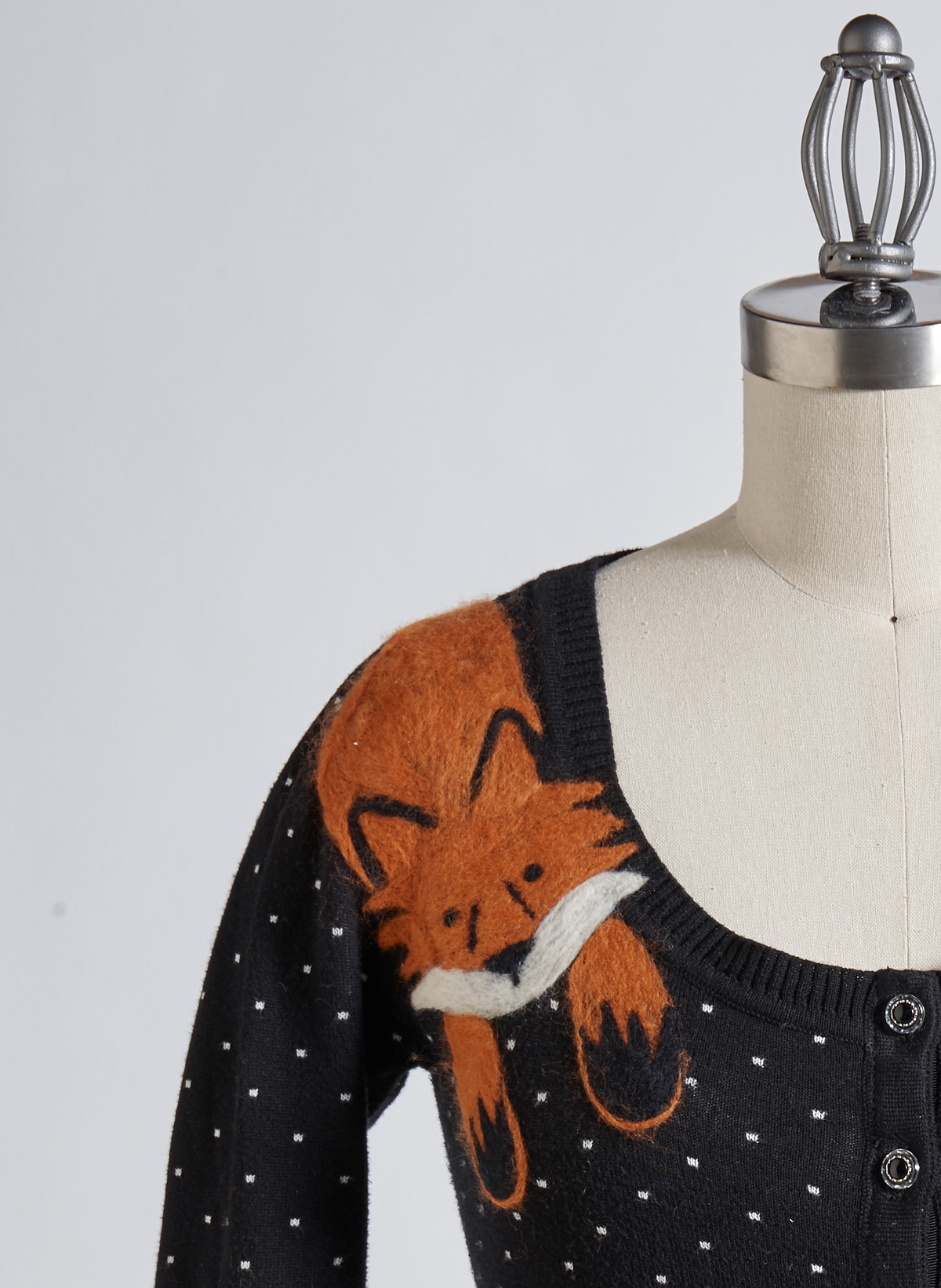 felted fox cardigan close-up