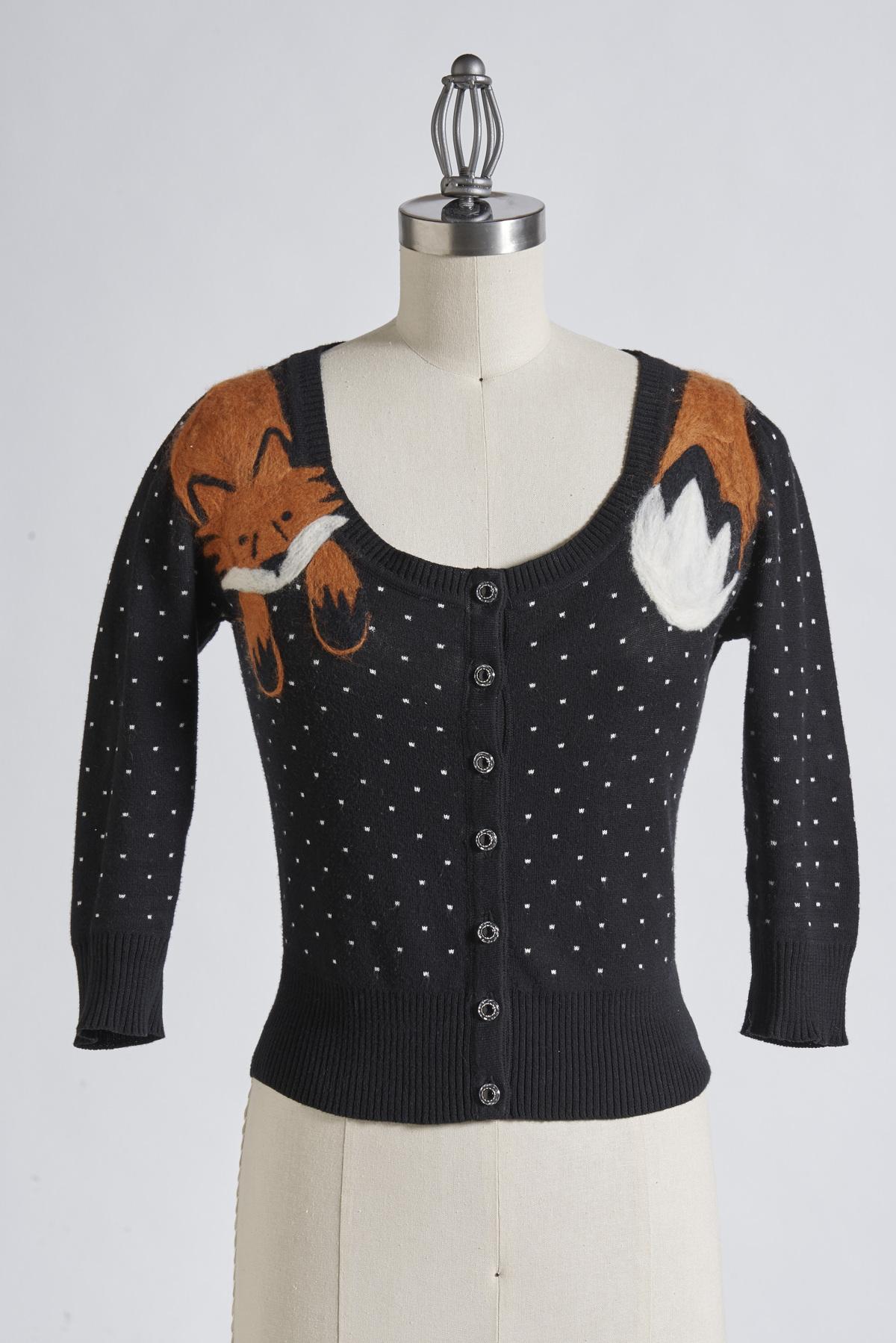 felted fox cardigan