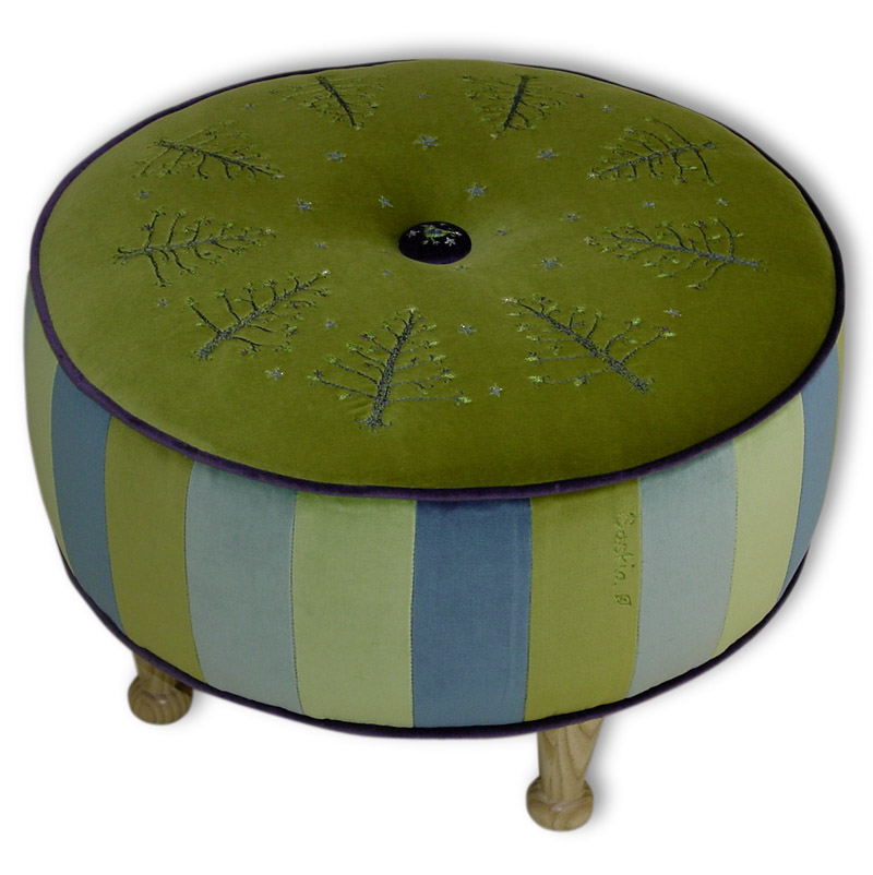 Olive Ottoman with Trees