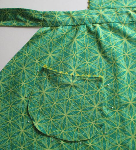 Pin Then Stitch the Pockets to the Apron Skirt